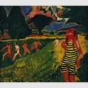 Max Pechstein, Das gelbschwarze Trikot, 1910, Öl auf Leinwand, 68 x 78 cm. Brücke-Museum Berlin, Dauerleihgabe aus Privatbesitz. © Max Pechstein Urheberrechtsgemeinschaft Hamburg/Tökendorf 2015
