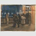 Käthe Kollwitz (1867-1945), Arbeiter vom Bahnhof kommend, (Bahnhof Prenzlauer Allee,) 1897–1899, Pinsel in Wasserfarben © Käthe Kollwitz Museum Köln