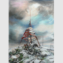 Funker, 2016, Farbstift und Pastell auf Papier, 124 x 90 cm