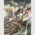 Terra, 2014, Farbstift, Pastell und Gouache auf Papier, 148 x 115 cm