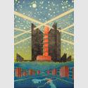 Max Gerntke, Stadt der Zukunft, um 1925, Farbige Kreiden, Wasserfarben, 73 x 50 cm, © Museum für Kunst und Gewerbe Hamburg
