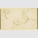 Leonardo da Vinci, Studien zu einem Pferd, um 1480/81. Metallstift auf farblos präpariertem Papier. 11,2 x 19,6 cm. Windsor Castle, The Royal Collection, HM Queen Elizabeth II. © The Royal Collection / HM Queen Elizabeth II