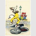 Lupo auf Rollschuhen, Rückseite Fix und Foxi Nr. 26, 1954, Zeichnung: Darul van der Heide und Werner Hierl. © Your Family Entertainment