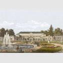 Schloss Herrenhausen von der Gartenseite, Lithografie, von Wilhelm Kretschmer, 1859