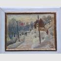 Heinz Felsch, Friesdorf im Winter, Öl auf Leinwand , 24 x 33 cm