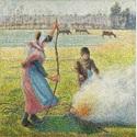 Camille Pissarro: Raureif, eine junge Bäuerin macht Feuer, 1888, Öl auf Leinwand, 92,8 x 92,5 cm, Sammlung Hasso Plattner