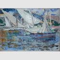 Wassily Kandinsky: Rapallo – Weiße Segel, 1906. Öl auf Karton mit Leinwandstruktur. Dauerleihgabe aus Privatbesitz