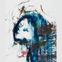 Arnulf Rainer, aus der Serie Gesichter mit Goya  Übermalung/Fotoreproduktion, 60 x 50 cm