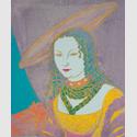 Andy Warhol, Porträt einer Frau (nach Lucas Cranach), 1984, Acryl und Siebdruck auf Leinwand, 127 × 107 cm, Sammlung Bayer / Bayer Art Collection