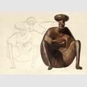 "Gerhard Marcks, ""Hockender Araber"", Bronze, 1981, vor der Bleistiftskizze ""Sitzender"", 1955 © Gerhard-Marcks-Stiftung, Bremen. Bildmontage KKMK 2018. VG Bild-Kunst Bonn 2018"