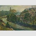 Heinz Felsch, Giebichenstein , Öl auf Hartfaser , 49 x 68 cm