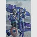 Die Piloten Tempelhof, 1958, Öl auf Nessel, 164 x 101 cm