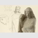 Gerhard Marcks, Trauernde, Totenmahl für Köln, Gipsmodell, 1947, vor Bleistiftskizze, 1946 © Kunsthaus Lempertz, Photo: Saša Fuis. Bildmontage KKMK 2018. VG Bild-Kunst Bonn 2018