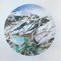 Bergrund 2, 2016, Farbstift und Pastellkreide auf Papier, 150 x 153 cm