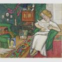 GABRIELE MÜNTER: Im Zimmer, Frau im weißem Kleid, 1913. Städtische Galerie im Lenbachhaus und Kunstbau, München