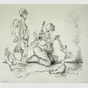 Ronald Searle: Le Gavage (Force feeding), Le Monde, 7. Dezember 2005. Wilhelm Busch - Deutsches Museum für Karikatur und Zeichenkunst, Dauerleihgabe der Stiftung Niedersachsen.