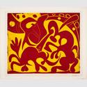 Pablo Picasso: Pique (rouge et jaune), Vallauris, Frühjahr 1959. Pika (rot und gelb). Farblinolschnitt, 53,1 x 63,7 cm. Sprengel Museum Hannover, Schenkung Sammlung Sprengel (1969). Foto: Michael Herling/Aline Gwose, Sprengel Museum Hannover. © VG Bild-Kunst, Bonn 2017