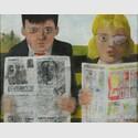 eter Blake, CHILDREN READING COMICS, 1954, Öl auf Hartfaserplatte, 36,7 x 47,1 cm, Tullie House Museum and Art Gallery Trust, Carlisle,© VG Bild-Kunst, Bonn 2016.