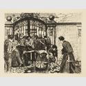 Käthe Kollwitz, Ein Weberaufstand, 1893-1897, Folge von sechs Blättern, V. Sturm, Radierung © Kunsthalle zu Kiel, Foto: Sönke Ehlert