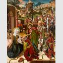 Wiener Meister: Ankunft, Reise und Anbetung der Könige, um 1490. Malerei auf Holz, 146 x 113,5 cm. Stiftsmuseum, Klosterneuburg. Foto: Michael Himml