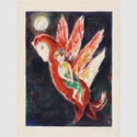 "Marc Chagall: Julnar the Sea-Born and her Son King adr Basim of Persia. Aus 'Arabian Nights - Four Tales from the Arabian Nights', New York, 1948. Dschullanâr, die Meermaid und ihr Sohn, der König Badr Bâsim von Persien. Aus ""Arabische Nächte - Vier Märchen aus 1001 Nacht"". Farblithografie, 37 x 28 cm. Sprengel Museum Hannover, Schenkung Sammlung Sprengel (1969). Foto: Michael Herling/Aline Gwose, Sprengel Museum Hannover. © VG Bild-Kunst, Bonn 2017"