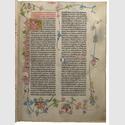 Gutenberg-Bibel, Band 1, Mainz um 1456-1456, Druck auf Pergament, farbig ausgemalt. Hochschul- und Landesbibliothek Fulda. © Hochschul- und Landesbibliothek Fulda