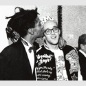 George Hirose, Jean-Michel Basquiat and Keith Haring at the opening of Julian Schnabel, Whitney Museum of American Art, New York, 1987, © George Hirose, 1987