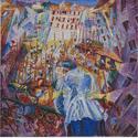 Umberto Boccioni: La strada entra nella casa, 1911. Sprengel Museum Hannover, Kulturbesitz der Landeshauptstadt Hannover. Foto: Herling/Herling/Werner, Sprengel Museum Hannover, gemeinfrei.